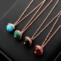 rote perlen für halskette großhandel-316L Titan Stahl P Brief drehbare Perle Paar Anhänger Halskette 18K Rose vergoldet Damen schwarz rot Achat Türkis Halskette