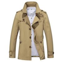 erkek pamuk rüzgarlık toptan satış-Eslite Hyun Mens Trençkot Moda Tasarımcısı Erkekler Ceket Sonbahar Ince Marka Erkek Ceket Pamuk Rüzgarlık Erkekler Siper 4XL