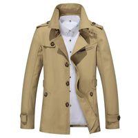 chaquetas de algodón de marca para hombres al por mayor-Eslite Hyun Mens Trench Coat Diseñador de moda Hombres Coat Otoño Slim Brand Mens Jacket Cotton Windbreaker Hombres Trench 4XL