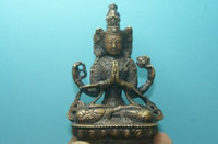 estatua de tara al por mayor-Hermoso cobre amarillo Antiguo Tíbet Budismo tibetano Verde Tara estatua de Buda Exorcismo decoración de fábrica de bronce