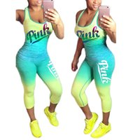 Wholesale Rugby Fitness - Love Pink Letter Tracksuit Sleeveless Scoop Neck Tank Cropped leggings Gradient Color Block Set Women Fitness Sports Gym Vest Pants Suits