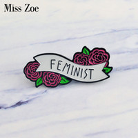 Wholesale indian clothing for women - Miss Zoe FEMINIST Enamel pin Women Up! flowers Brooches Gift for women Feminism icons Pin Badge Button Lapel pin for Clothing cap bag
