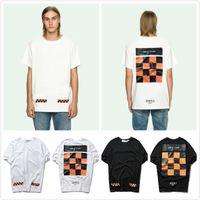 Wholesale Plaid Shirts Short Sleeve - Designer VIRGIL ABLOH t shirts Checker board Print Casual T-shirts Hip Hop tee Tops skateboard tshirt Brand Short Sleeve white black