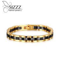 männer schwarzes wolfram keramik armband großhandel-SIZZZ 7,5 MM Breite Wolfram StahlKeramik Gold Schwarz Armband Armbänder Für Männer