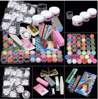 Wholesale nail art drop shipping for sale - Group buy ColorWomen in Professional Manicure Set Acrylic Glitter Powder French Nail Art Decor Tips Set Drop Shipping