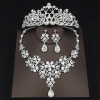 Wholesale Clear Cuffs - 2018 Newest Drop Rhinestone Wedding Jewelry Set Necklace Crown Tiaras Crown Earrings Headwear Beading Three Piece Party Bridal Accessories