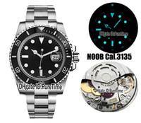 мужские часы оптовых-Новый N V9 Best Edition Swiss Cal.3135 ETA 3135 механизм с автоподзаводом черный керамика безель черный циферблат мужские часы синий световой 904l стали Rx5a1