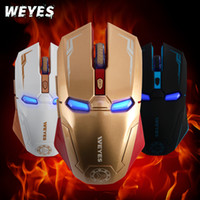 Wholesale gifts for gamers - Wholesale-Retail Box New Creative Iron Man aming Mouse Blue LED Optical USB Wired Mouse Mice For Gamer Computer Laptop PC Gift