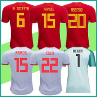 Wholesale Custom Football Kits - spain jersey home red Away gray 2018 world cup Spain Soccer Jersey PIQUE A.INIESTA RAMOS ASENSIO ISCO goalkeeper kit Football shirt Custom
