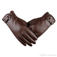 kışlık deri sürüş eldiven erkek toptan satış-2 Renkler Mens Kış Deri Kalınlaşmak Kadife Eldiven Açık Sürüş Için Mitten Siyah Kahve Snug Manşetleri Sıcak Eldiven Erkekler Noel Hediyesi H916R