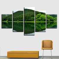 Wholesale art reflection - Canvas HD Prints Pictures Modular 5 Pieces Green Mountain Lake Reflection Painting Wall Art Natural Landscape Poster Home Decor