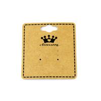 goujons de pendentifs achat en gros de-100 Pcs / Lot Livraison Gratuite 5.5 * 6 cm Kraft Papier Couronne Boucle D'oreille Goujons Suspendus Titulaire Affichage Cartes Suspendues