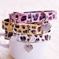 Wholesale jeweled leather dog collars - Leopard Dog Collars For Small Dogs Yellow Pink White Fashion PU Lead With Rhinestone Heart Pet Goods For Puppy Chihuahua Yorkie
