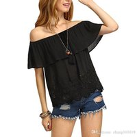 Wholesale Shirts Woman Strapless - Newly 2018 Women Strapless Ruffles Summer Blouse Tops Sexy Off Shoulder Short Sleeve Crochet Lace Shirts Casual Blusas