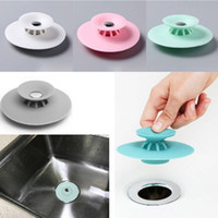 Wholesale bathroom sink stoppers - Rubber Floor Drain Sink Stopper hair catcher Muti-functional Drain Stoppers Bathroom Leakage-proof Basin Stopper FFA228 30PCS 5 COLORS