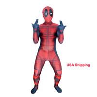 deadpool costume al por mayor-Niños 3D Deadpool 3D X-Men Deadpool Halloween Cosplay Superhéroe Lycra Spandex Zentai Trajes Traje de Deadpool (Unisex)