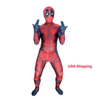 deadpool costume toptan satış-Çocuklar 3D Deadpool 3D X-Men Deadpool Cadılar Bayramı Cosplay Superhero Lycra Spandex Zentai Suits Deadpool Kostüm (Unisex)
