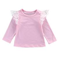 ingrosso camicia da bambino-I prodotti più venduti Baby Style England Style Neonati Vestiti per bambini Baby Girl Ruffle Lace Blouse Top Casual Skin friendly Blouse