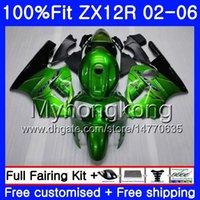 ingrosso zingere 12x-Iniezione per KAWASAKI NINJA ZX1200 ZX 12R 2002 2003 2004 2005 2006 224HM.29 ZX-12R 12 R 1200CC ZX12R 02 03 04 05 06 Lucido verde Carena