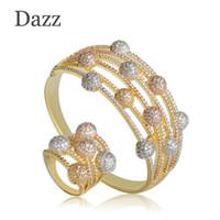 rosa amarilla conjuntos de joyas al por mayor-Deslumbrante Zirconia cúbica mujeres brazalete y anillo conjuntos Baguette Three Tone Hollow boda indio perlas africanas joyería conjunto