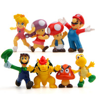 "Wholesale luigi figure - 8pcs set Super Mario Bros 2"" Mario Luigi Mushroom Toad Princess Action Figure Super Mario yoshi PVC Gift Toys For Kid B"