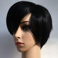 ingrosso eleganti parrucche nere-Rihanna Style New Stylish 1B colore Nero Breve rettilineo Africa parrucche americane Parrucca sintetica dei capelli di Ladys / Parrucche Parrucca completa Capless Y richiesta