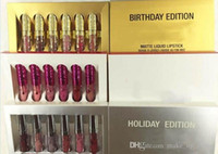 Wholesale kylie jenner holiday edition mini lipstick resale online - NEW Kylie Jenner Valentine holiday Birthday Edition Lip Kit Matte Liquid Lipsticks set mini kylie lipgloss kit free delivery