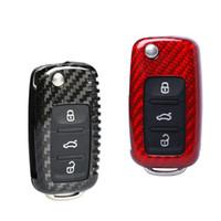 volkswagen düğmesi anahtar kutusu toptan satış-Karbon Fiber Araba Anahtarı Durum Kapak Anahtar Koruyucu Kabuk 3 Düğme Için Volkswagen Golf Jetta Tilki Tiguan Polo Passat Skoda Siyah Kırmızı