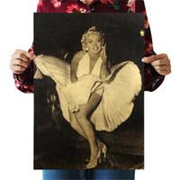autocollant mural intérieur achat en gros de-Marilyn Monroe Sexy Lady Nostalgie Rétro Sticker Kraft Papier Affiche Intérieur Bar Café Décoration de Peinture 0 69pm bb