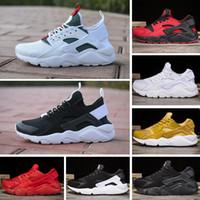 buy online 1656d 3f616 2018 Nike Air Huarache 1.0 Run Ultra 4 IV Chaussures de course Hommes  Femmes Huaraches Run Triple noir blanc rouge Multicolor Sneakers Athletic  Trainers ...