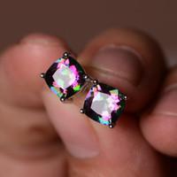 Wholesale Mystic Topaz Silver Earrings - Women Fashion Silver Mystic Rainbow Topaz Gemstone Earrings Stud Earrings