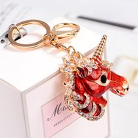 Wholesale decorations crystal car - 2018 Fashion Full Crystal Rhinestone Unicorn Keychain Car keyrings Women's bags Decoration Accessories horse Pendants Jewelry