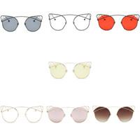 Wholesale cat ears sunglasses resale online - Women Cat Ear Ball Leg Metal Sunglasses Anti uv Sun Glasses Female Girl Summer Daily UV400 Eyewear