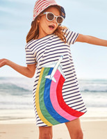 Wholesale Sleeved Knee Length Dresses - Girls Casual Short-Sleeved Striped T-shirt Dress 2018 Cute Summer Cotton Dress with Animal Appliques Baby Girl Clothes