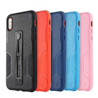 Wholesale armour hybrid shockproof case for sale – best TPU Soft Case Litchi Grain Hybrid Case For iPhone8 plus iPhone X Rugged Armour Case With Metal Kickstand Shockproof