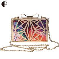 çanta çantası baskısı toptan satış-2018 Yeni Moda Kadın Çanta Metal Patchwork Shinning Omuz Çantaları Bayanlar Baskı Günü Debriyaj Düğün Akşam Çantalar bh507 Y18102204