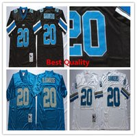 Wholesale Cheap American Football Shirts - NCAA Throwback Barry Sanders jerseys American football shirts Retro mens B.Sanders black white blue color cheap wear College uniform Retired