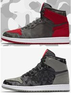 Wholesale camo lycra men - High Quality 1s Camo 3M Reflect Basketball Shoes Men 1 High Camouflage Red Grey Sports Sneakers With Shoes Box
