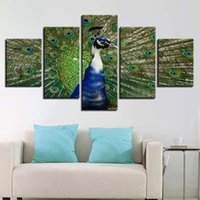 Wholesale peacock painting framed - Modular Pictures HD Printed Canvas 5 Pieces Peacock In His Pride Painting Living Room Home Decoration Poster Wall Art Framework