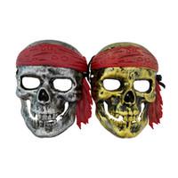 masque de matériau achat en gros de-Halloween Pirate Personnage Masque Cosplay Costume Accessoires Mystérieux Masque Mascarade Parti PVC Matériel Masque Livraison Gratuite