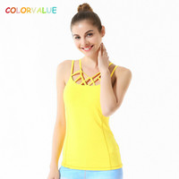 Wholesale Dance Tank Tops - Colorvalue Chic Hollow Out Yoga Vest Women Slim Fit Dance Fitness Tank Tops Nylon Sport Sleeveless Shirts with Removable Pads