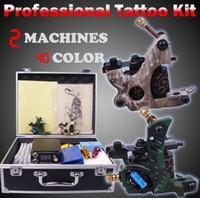 agujas de poder al por mayor-Máquina de tatuaje profesional conjunto caja de herramientas completa interruptor de tinta de tinta kit de punta de agujas tatuaje pintura del cuerpo suministros de tatuaje
