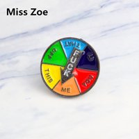 mes jacket NZ - Miss Zoe Cartoon Turntable pins F--K THIS THAT OFF ME YOU IT brooch Button pin Denim Jacket Pin Badge Jewelry Gift for friend