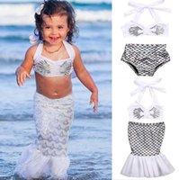 kostenloses baby-bad-set großhandel-Heißer Verkauf Prinzessin Baby Mädchen kleiner Meerjungfrau Bikini 2pcs / set Badeanzug Badeanzug kostenloser Versand