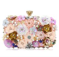 Wholesale diamond roses silk - 2018 New Luxury Metal Rose Carved Diamond Handbag Celebrity Evening Fashion pearl Wedding Flowers Party Lady bags D420