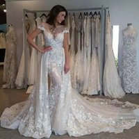 Wholesale church dresses for sale - Group buy Gorgeous Sexy Mermaid Wedding Dresses With Detachable Train Sheer Neck Lace Applique Court Train Garden Church Wedding Bridal Gowns