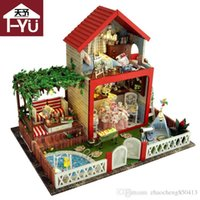 artisanat miniatures maison en bois achat en gros de-Cadeaux Nouvelle Marque DIY Maisons De Poupées En Bois Maison De Poupée Unisexe 3d maison de poupée Meubles Jouet Maison Miniature Meubles artisanat TB5