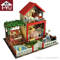кузница ремесел оптовых-Gifts New  DIY Doll Houses Wooden Doll House Unisex 3d dollhouse Furniture Toy House Miniature Furniture crafts TB5