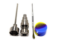 Wholesale adjustable set - 10mm & 14mm 18mm Adjustable Titanium Nail Tool Set Glass Bong Domeless GR2 Titanium Nail with Carb Cap Dabber Tool Slicone Jar Dab Container