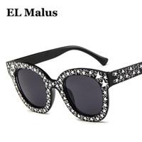 gümüş elmas taklidi toptan satış-[EL Malus] Oval Çerçeve Yıldız Güneş Kadınlar İmitasyon Pırlanta Marka Tasarımcı Güneş Gözlükleri Kadın Yansıtıcı Siyah Pembe Gümüş Ayna SG007